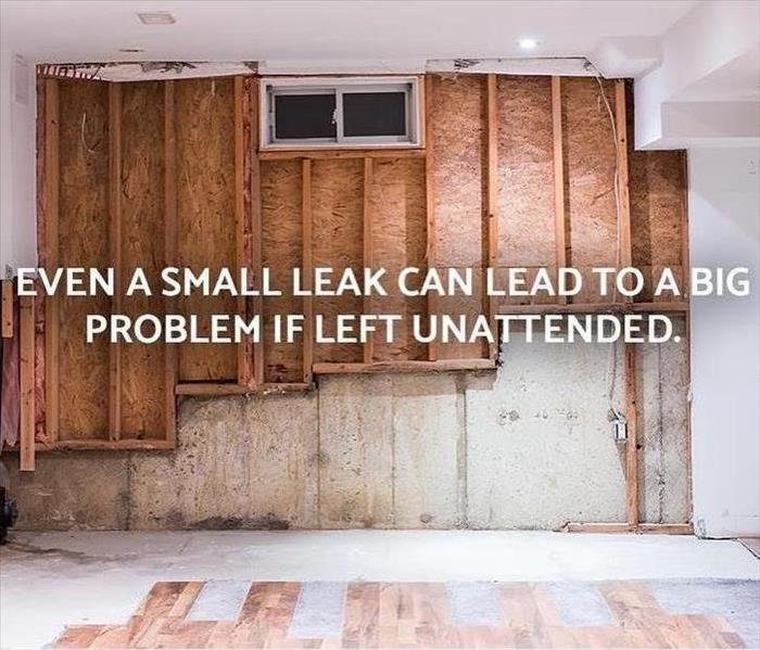 demoed wal and floor from water damage with text a small leak can cause a big problem